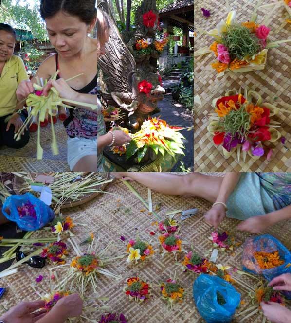 Balijczycy trzy razy dziennie przygotowują ofiarę swoim bóstwom. Dołączyłyśmy do tego rytuału. Na zdjęciu u góry Ania. Fot. Madzia Lubowiecka