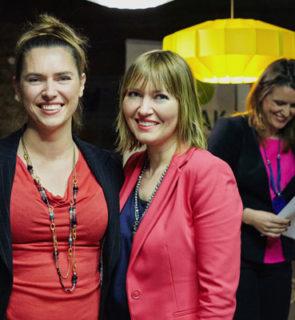 Ola Budzyńska, Aneta Pondo i Małgorzata Majewska na spotkaniu Klubu Miasta Kobiet (styczeń 2016), fot. Barbara Bogacka